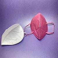 Маска респиратор 2 шт с угольным фильтром, розовая
