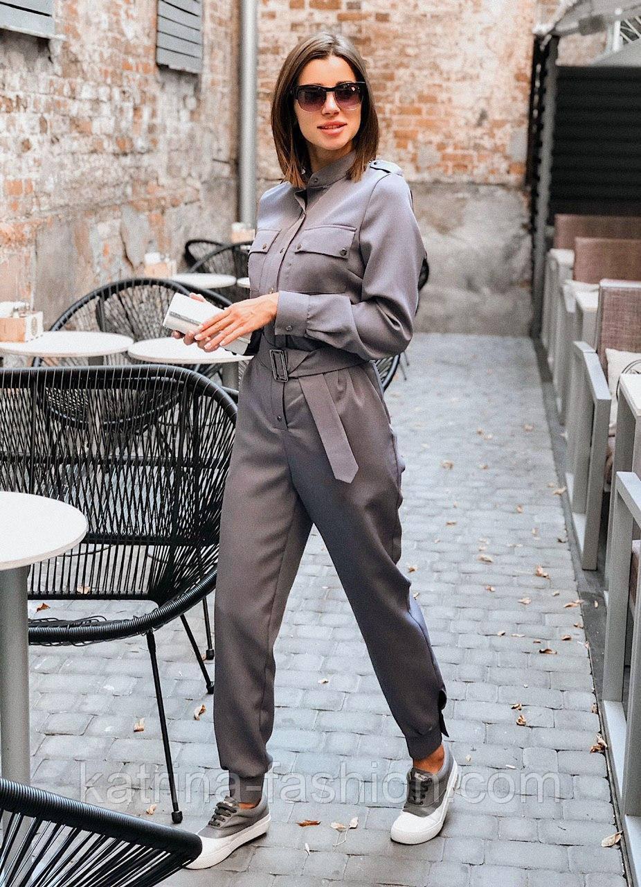 Жіночий стильний брючний комбінезон з накладними кишенями (в кольорах)