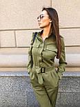 Жіночий стильний брючний комбінезон з накладними кишенями (в кольорах), фото 7