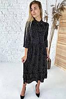 Шикарное платье миди с воротником бантом  - черный цвет, L