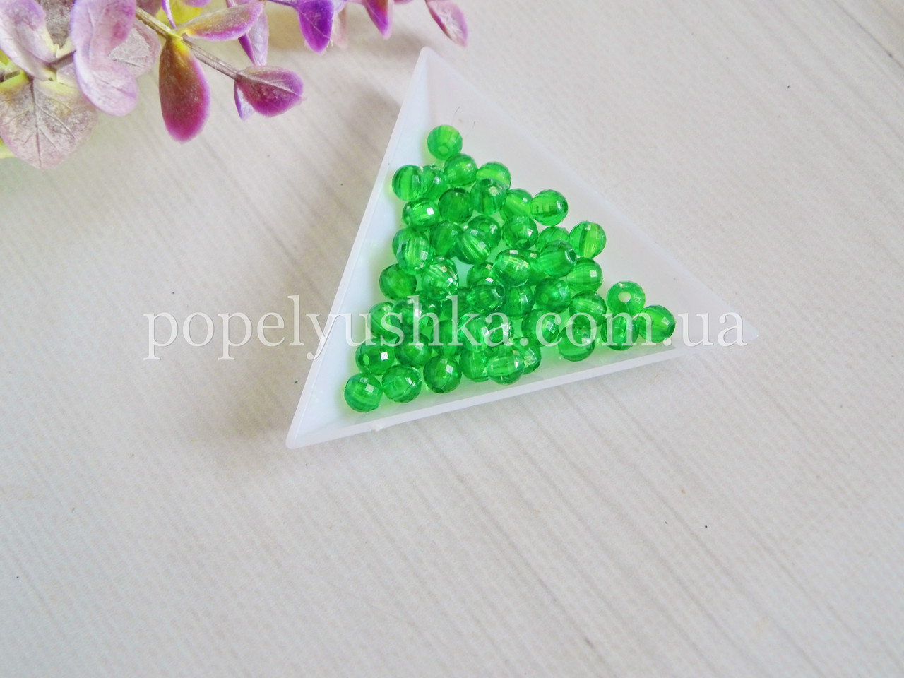 Бусины граненые круглые акрил зеленые 6 мм (50 шт.)