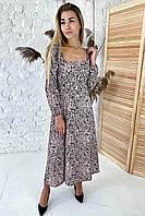 Шикарное длинное платье с необычными рукавами  - бежевый цвет, L
