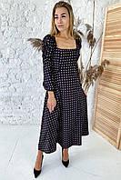 Шикарное длинное платье с необычными рукавами  - черный цвет, S