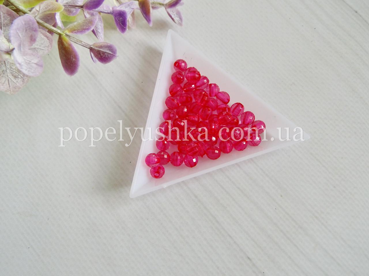 Намистини круглі грановані акрил рожеві 6 мм (50 шт.)
