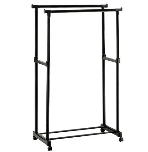 Размеры 62*37*129 см.Двойная стойка для одежды черного цвета на колесиках.