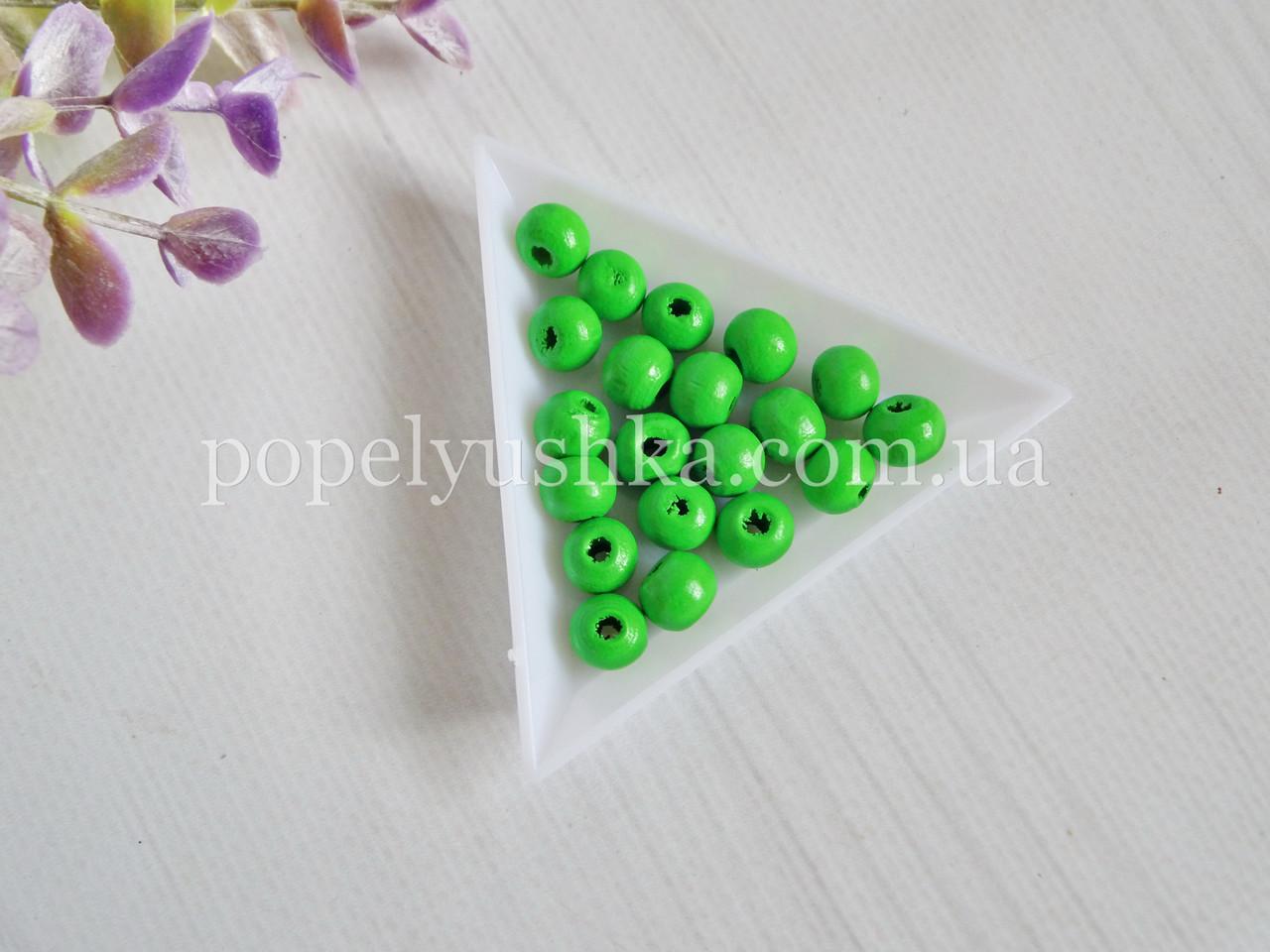 Намистини дерев'яні зелені 8 мм (20 шт)