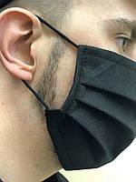 Маска трехслойная на резинках с  перегородкой для носа., фото 1