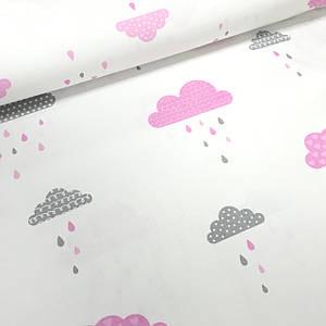 Хлопковая ткань польская облака розовые и серые