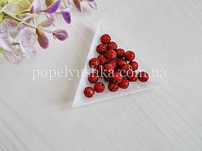Намистини пластикові з блискітками вишневі 8 мм