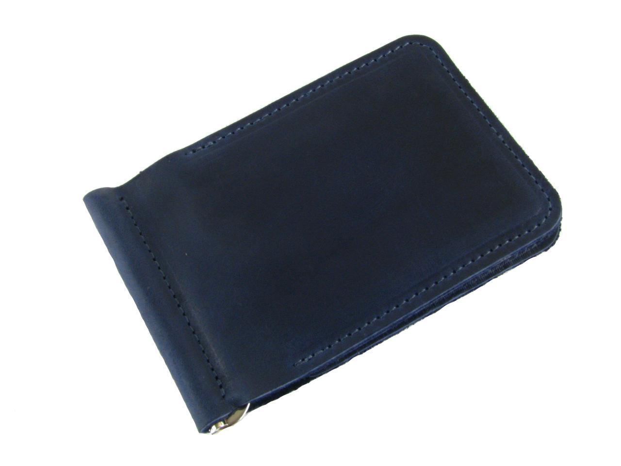 Мужской тонкий кошелек с зажимом GS кожаный синий