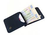 Мужской тонкий кошелек с зажимом GS кожаный синий, фото 2