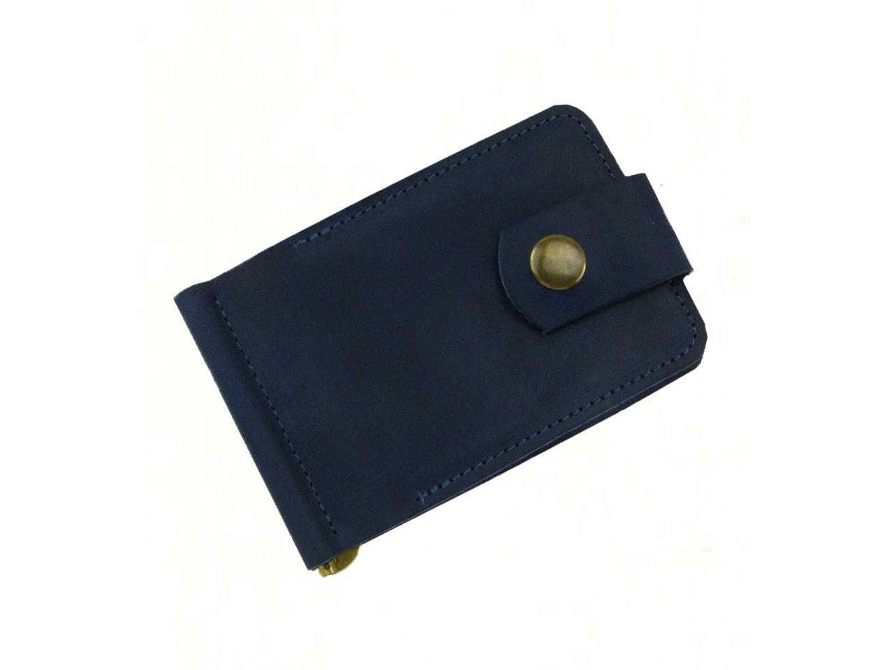 Кожаный мужской кошелек зажим для купюр GS синего цвета