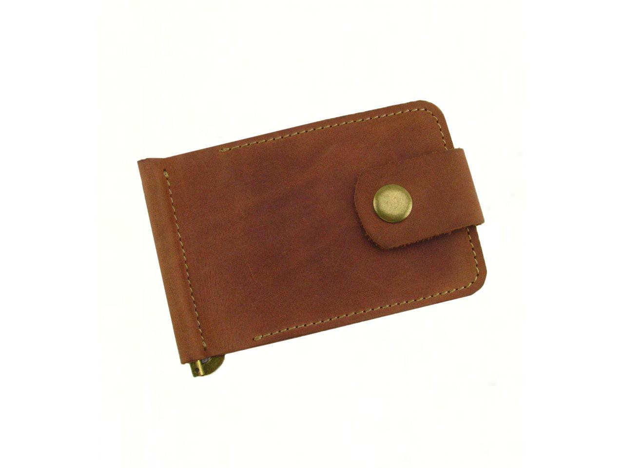 Кожаный мужской кошелек зажим для купюр GS коньячного рыжего цвета