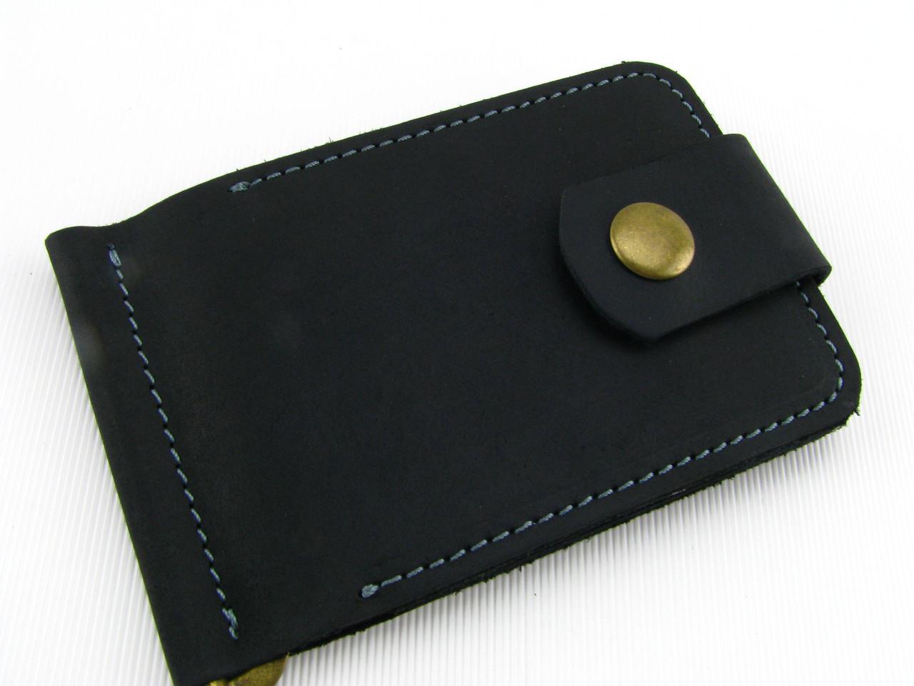 Кожаный мужской кошелек с прижимом GS черный