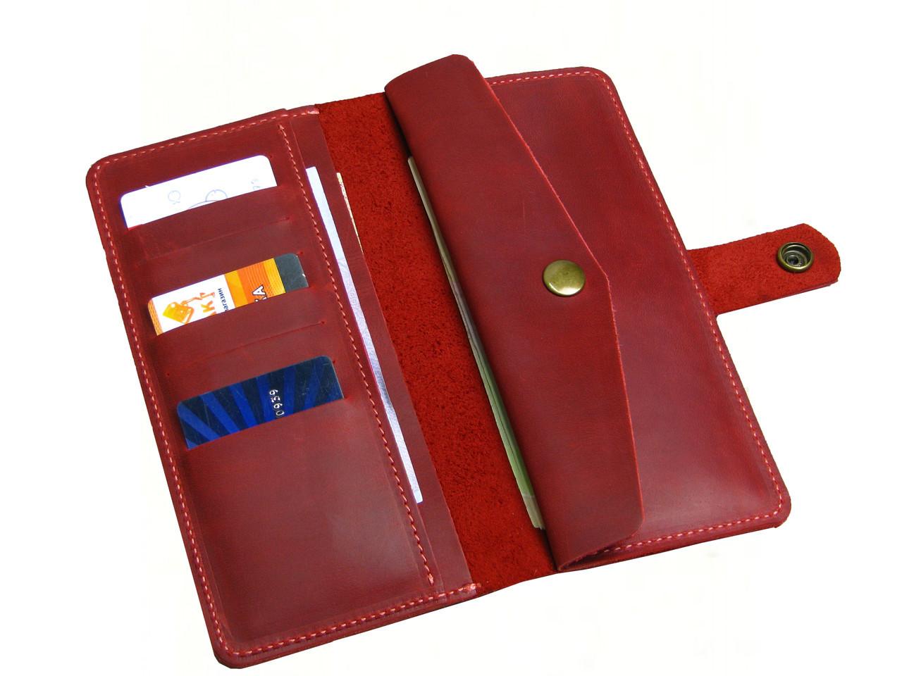 Женский кожаный кошелек GS красный