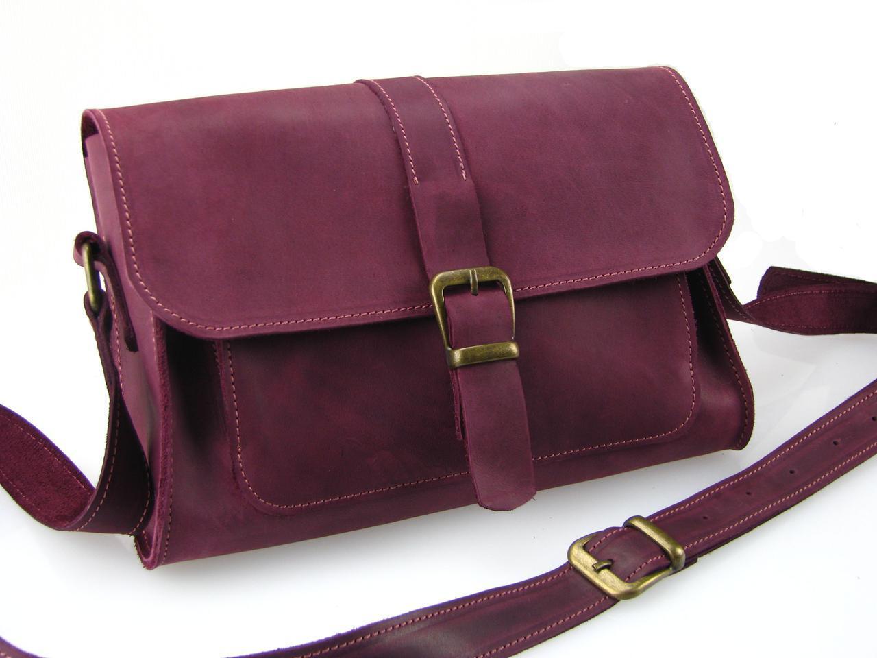 Женская кожаная сумка GS бордовая