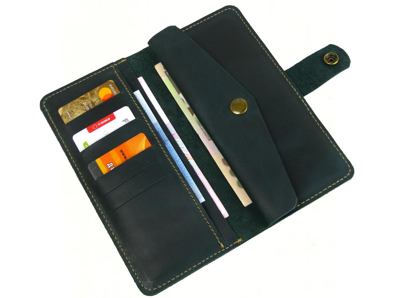 Женский кожаный кошелек GS зеленый