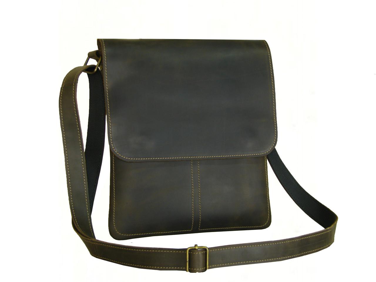 Мужская сумка  планшет GS кожаная  коричневая