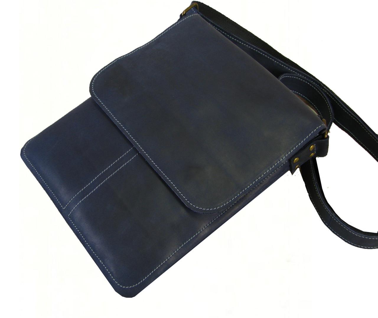 Мужская сумка планшет GS кожаная синяя