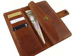 Мужской кожаный кошелек  GS коньячный