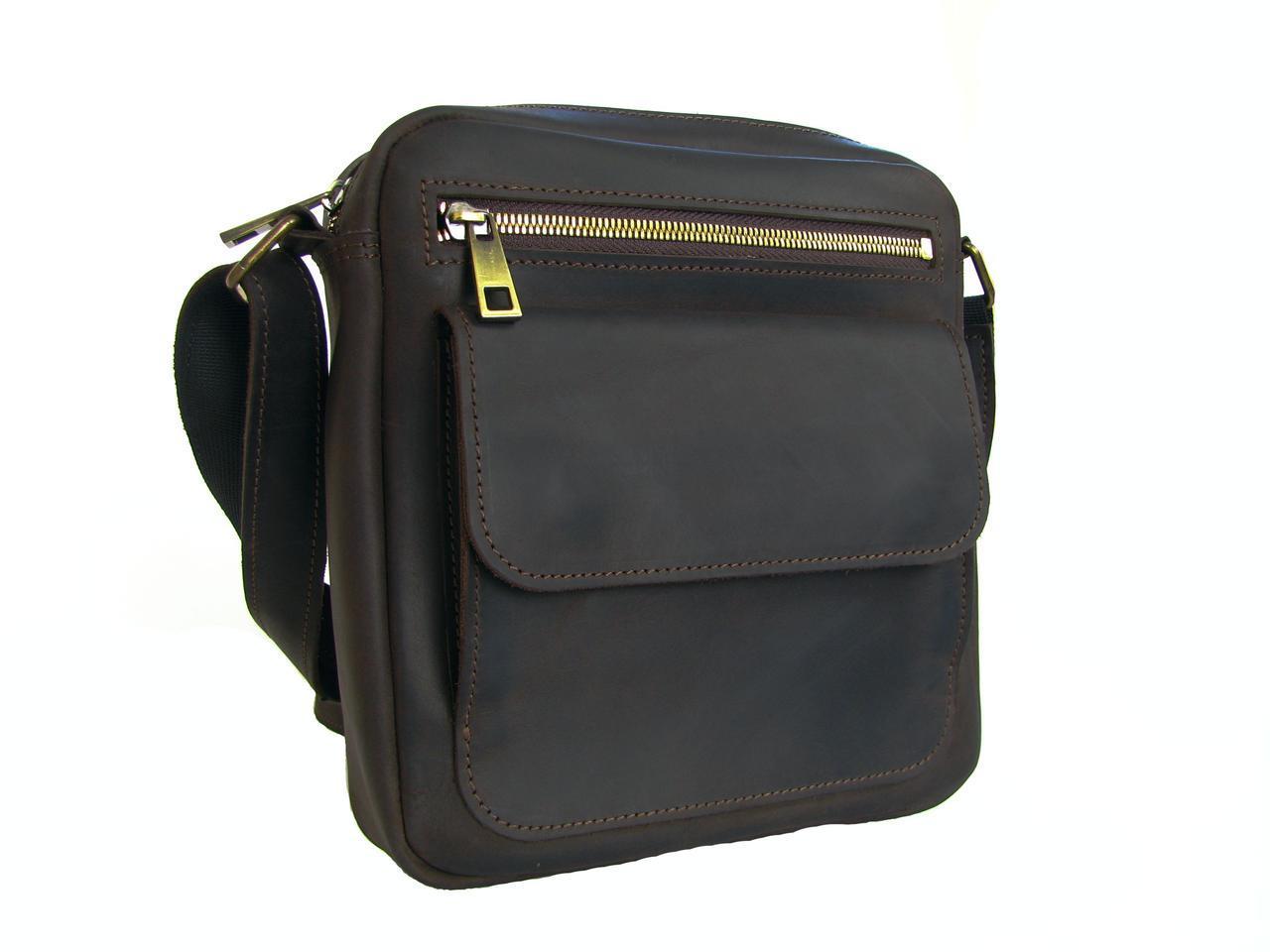 Кожаная мужская сумка GS коричневая