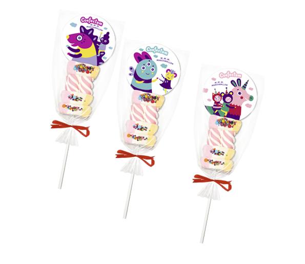 """Зефир жевательный """"Confectum Marshmallow pops"""" с ароматом клубники и банана, в форме сандвича."""