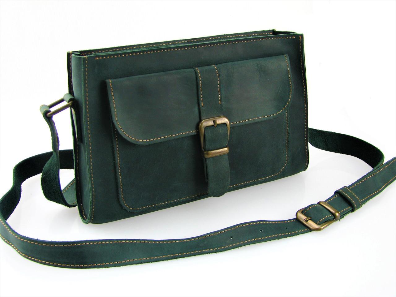 Женская кожаная сумка GS зеленая