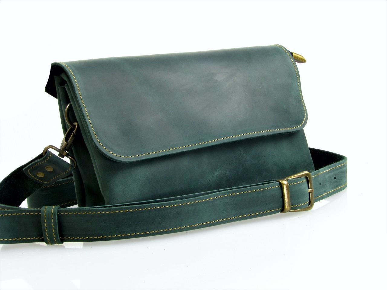 Женская кожаная сумка - клатч GS зеленая