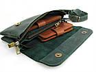 Женская кожаная сумка - клатч GS зеленая, фото 5