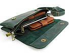 Женская кожаная сумка - клатч GS зеленая, фото 6