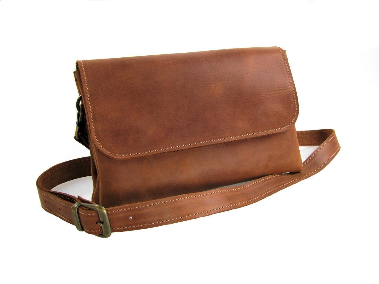 Женская кожаная сумка - клачт GS рыжая