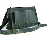 Женская кожаная сумка через плечо GS зеленая, фото 2