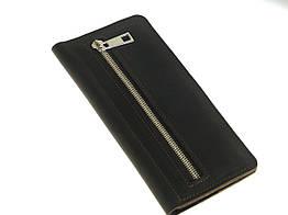 Мужской кожаный кошелек купюрник GS коричневый