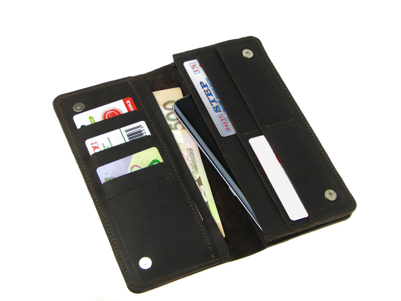 Мужской кошелек - клатч GS кожаный коричневый