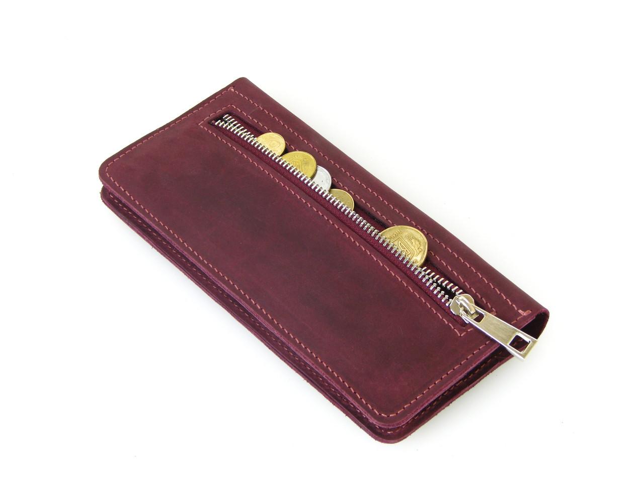 Женский кожаный кошелек купюрник GS бордовый