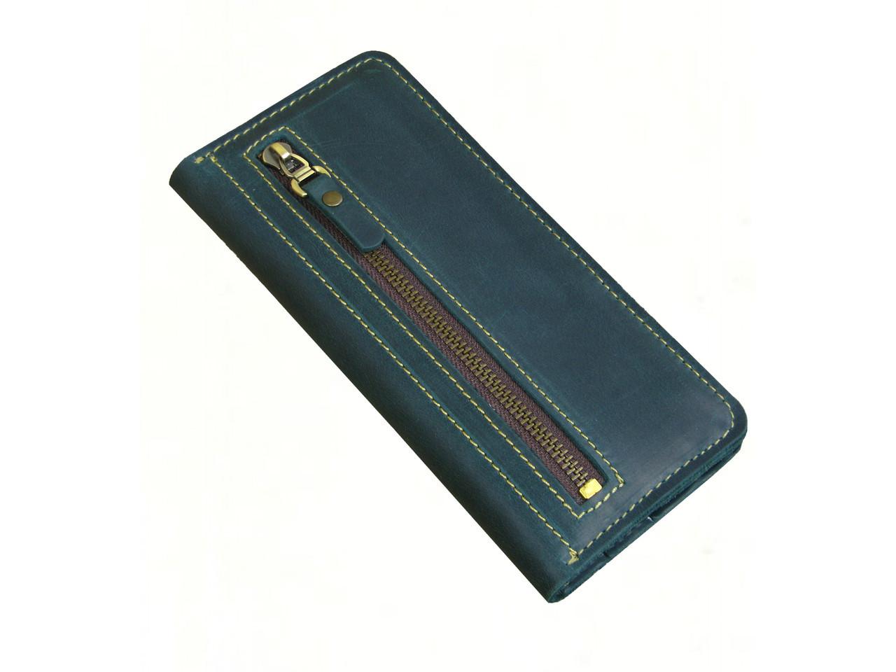 Женский кожаный кошелек купюрник GS зеленый