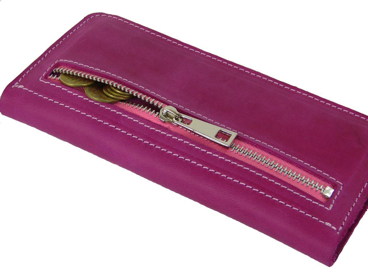 Женский кожаный кошелек купюрник GS розовый