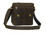 Мужская повседневная сумка GS кожаная  коричневая, фото 3