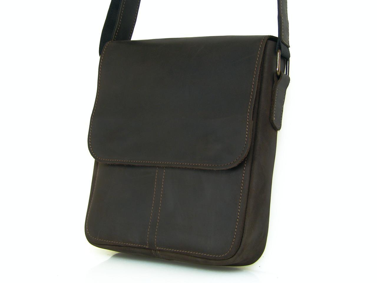Мужская повседневная сумка GS кожаная  коричневая