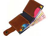 Женский кожаный кошелек бумажник GS синий, фото 2