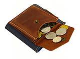 Женский кожаный кошелек бумажник GS синий, фото 4