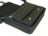Мужская кожаная сумка для документов А4 и ноутбука GS черная, фото 3