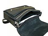 Мужская кожаная сумка для документов А4 и ноутбука GS черная, фото 5