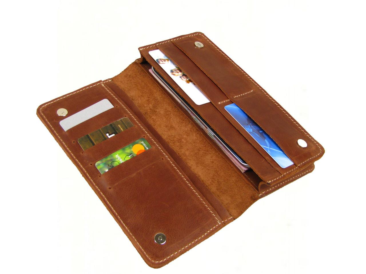 Женский кошелек - клатч GS кожаный рыжий