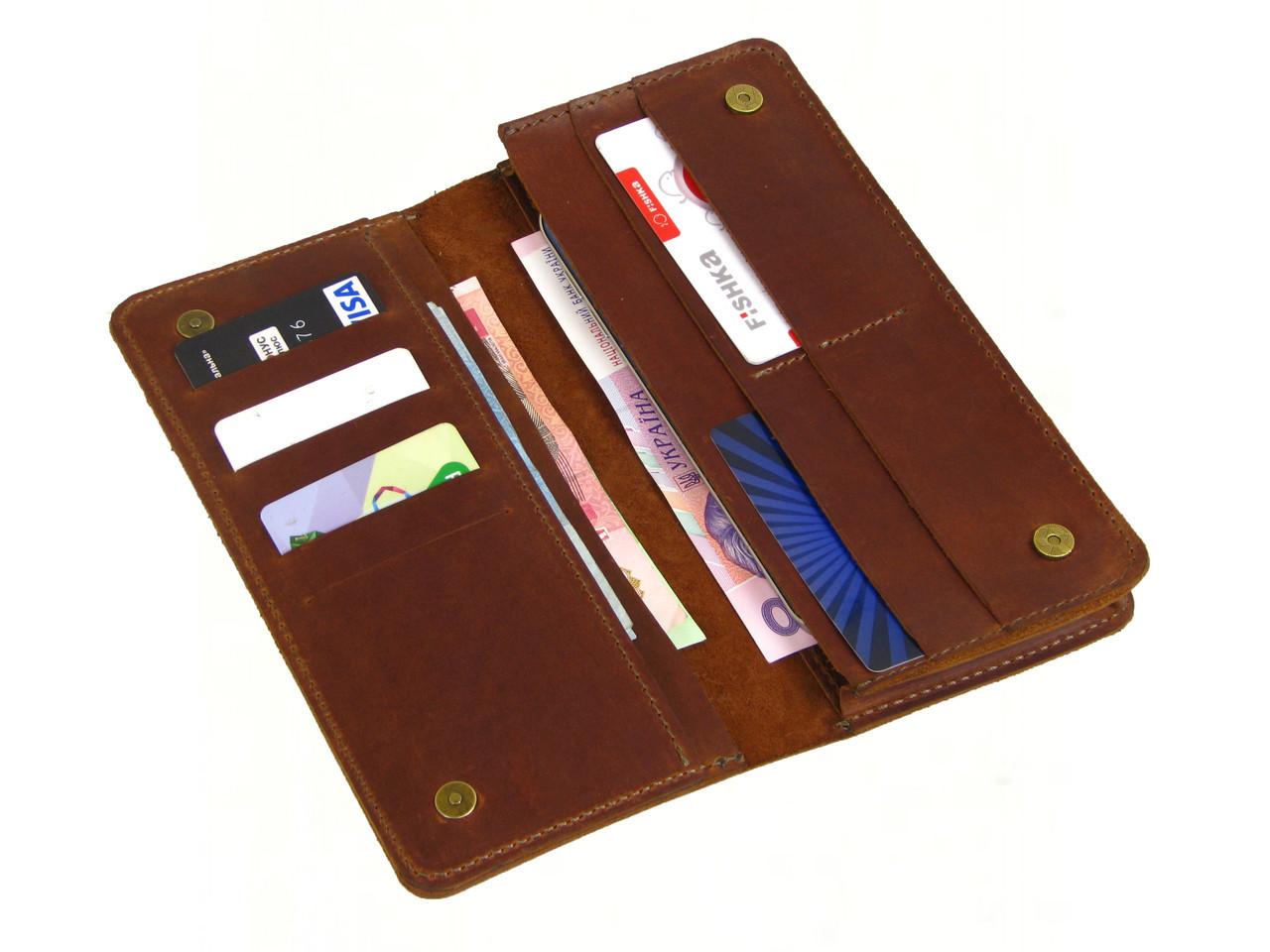 Мужской кошелек - клатч GS кожаный рыжий