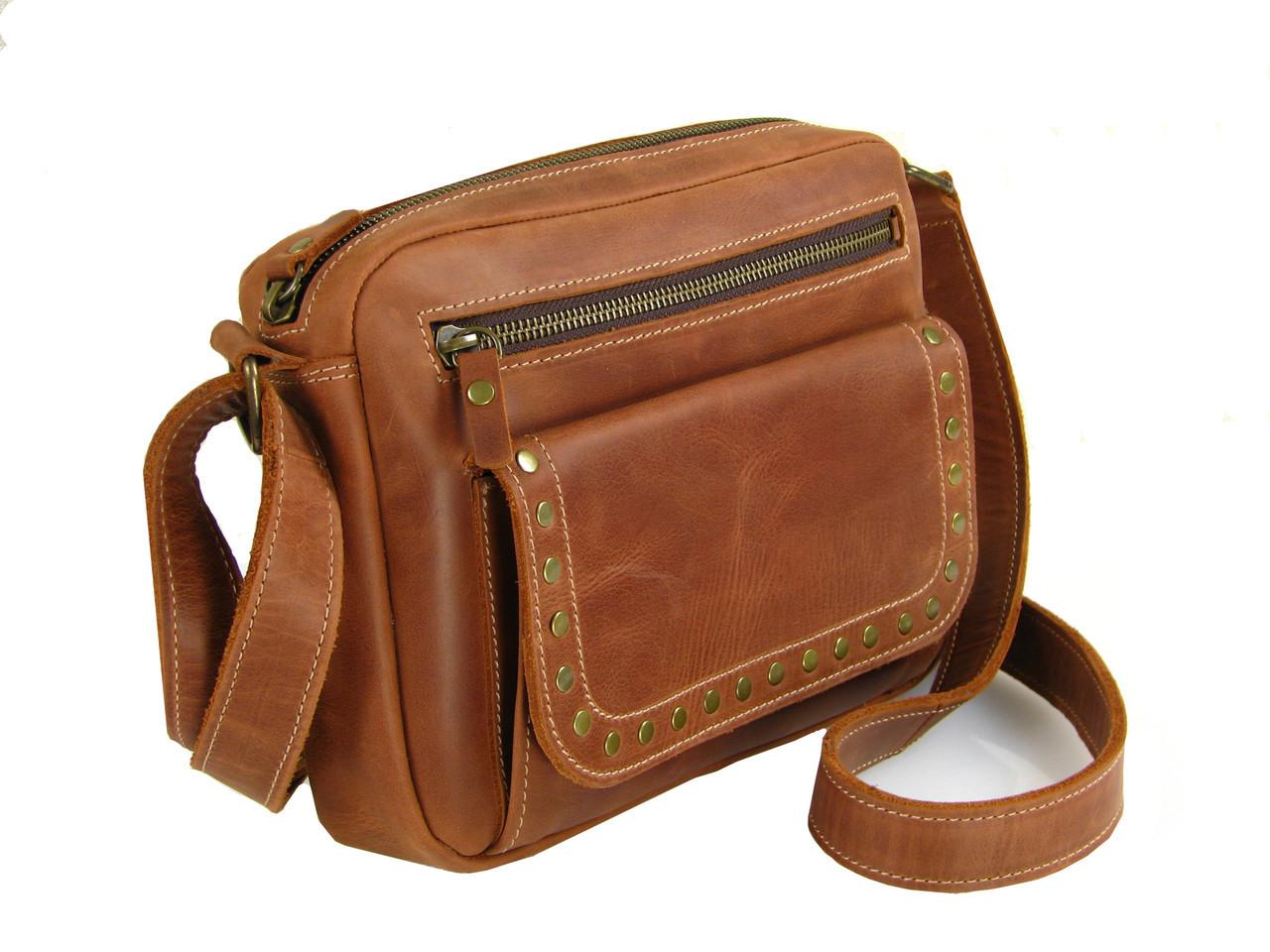 Женская повседневная сумка GS кожаная рыжая