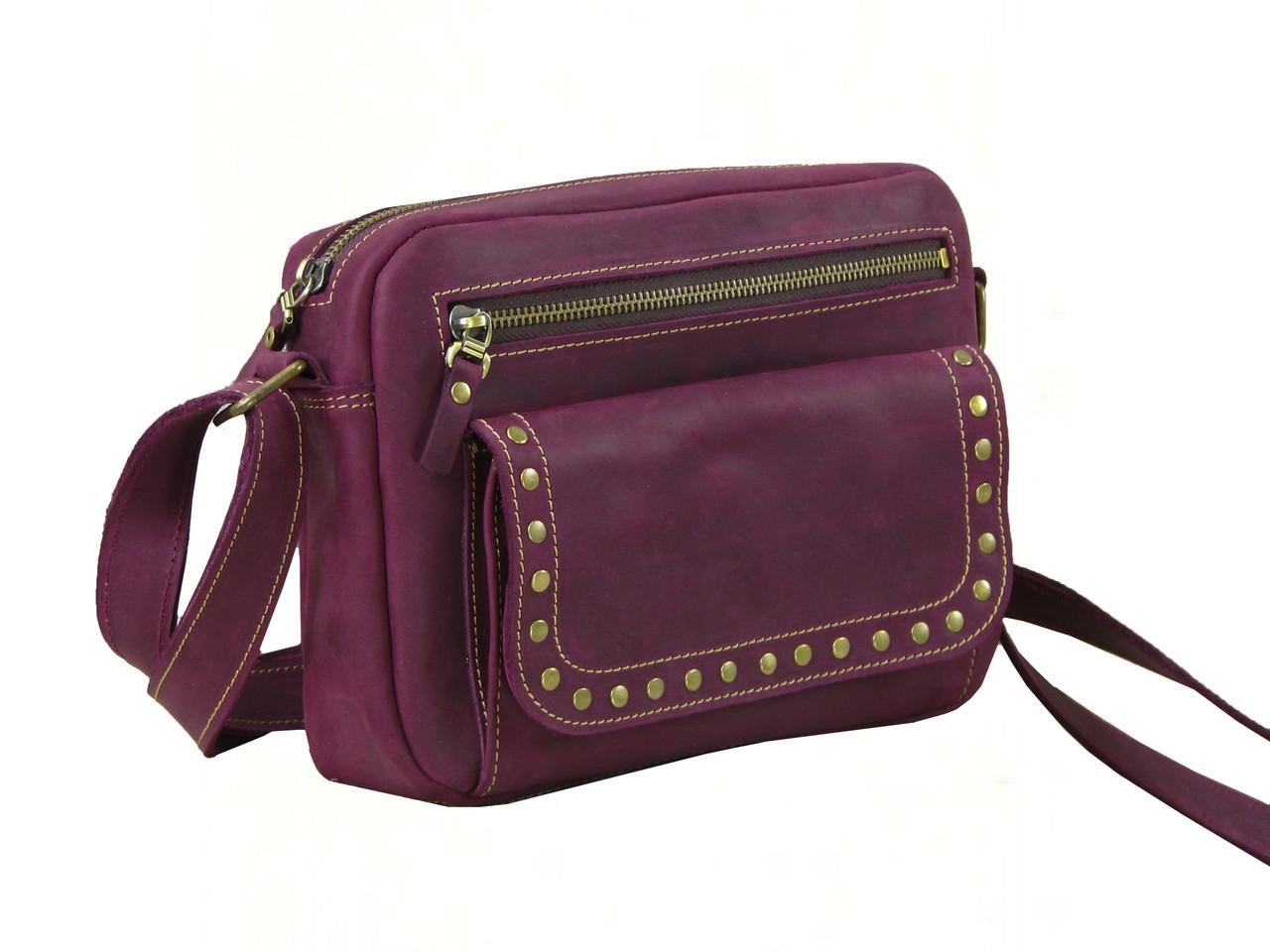 Женская повседневная сумка GS кожаная бордовая
