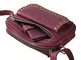 Женская повседневная сумка GS кожаная бордовая, фото 2