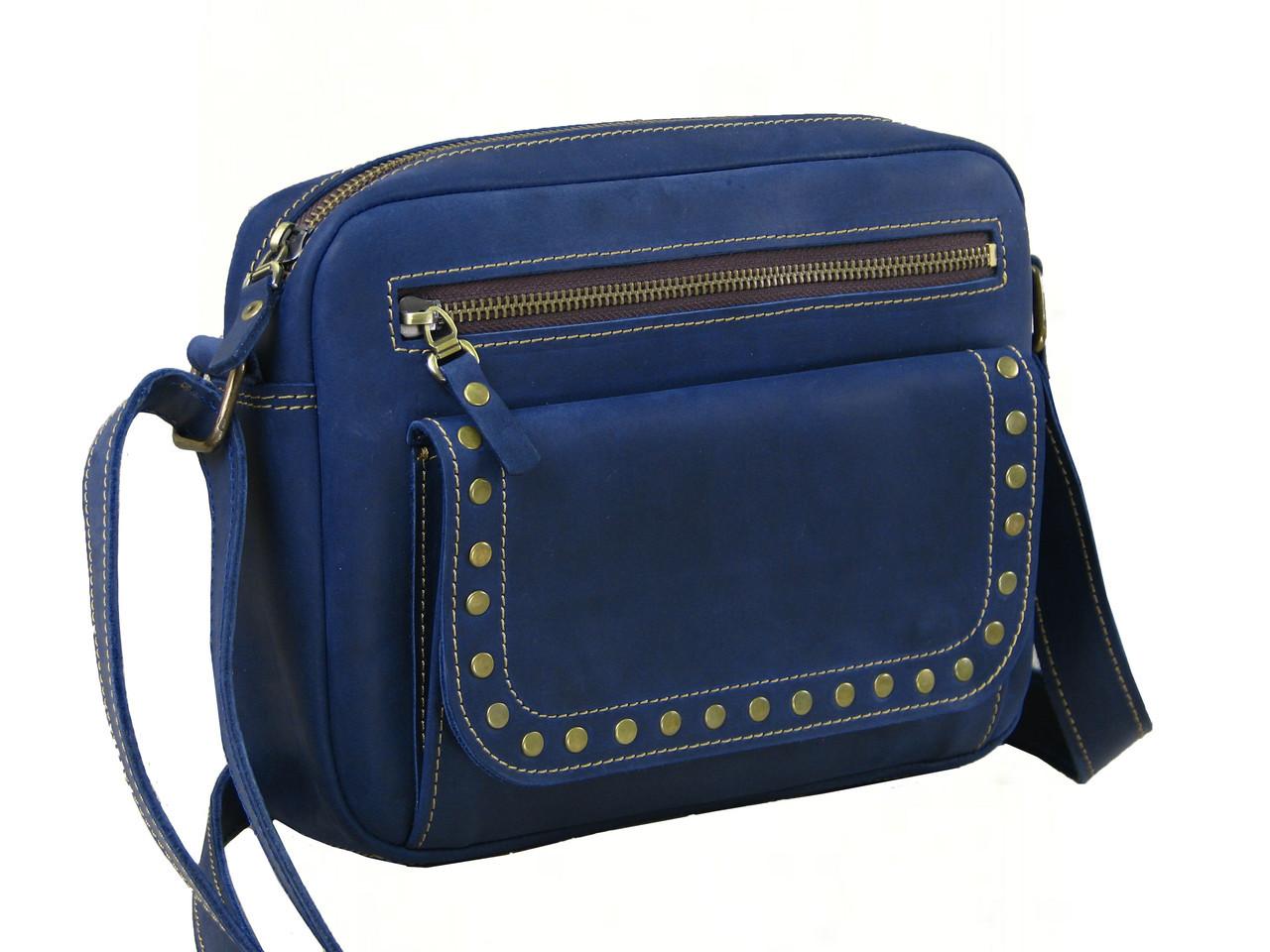 Женская повседневная сумка GS кожаная синяя