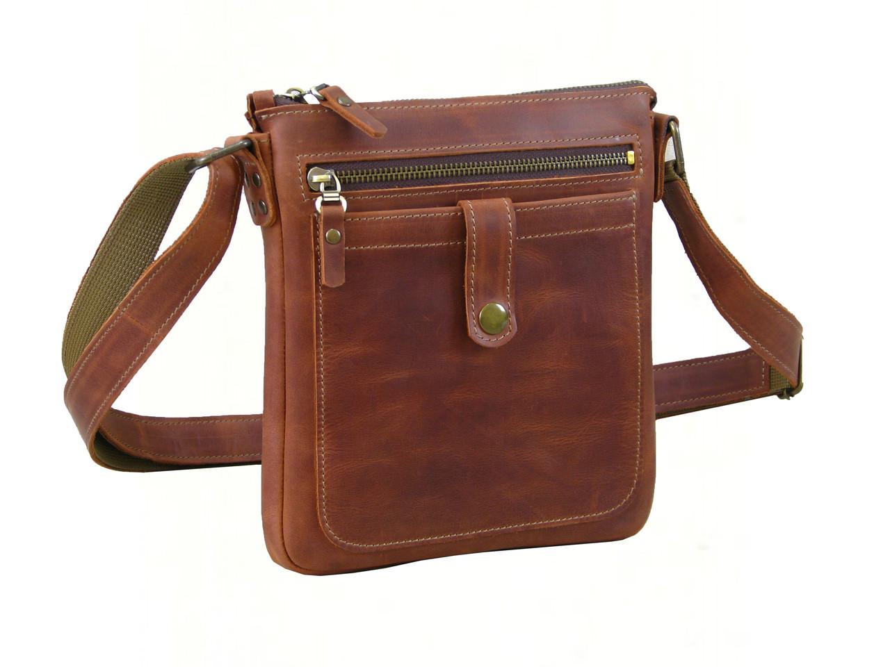 Кожаная сумка планшет GS мужская коньячная рыжая
